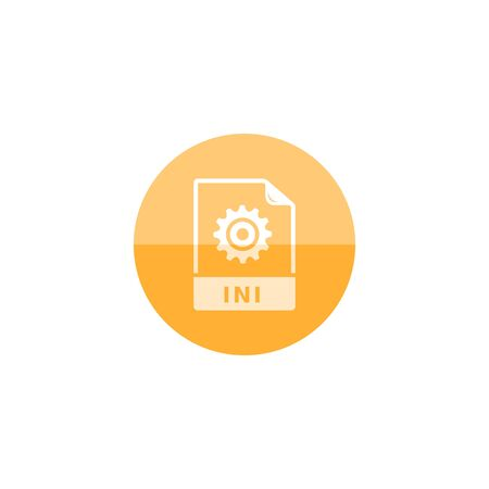 ini: System file format icon in flat color circle style. Computer data program application Illustration