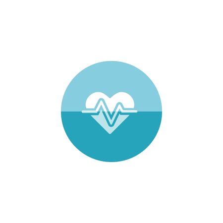 Heart rate icon in flat color circle style. Human pulse line beep graph