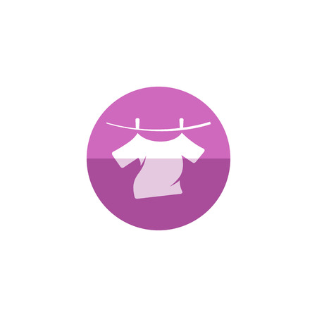 Clothes hang icon in flat color circle style. Laundry cleaning washing Illustration