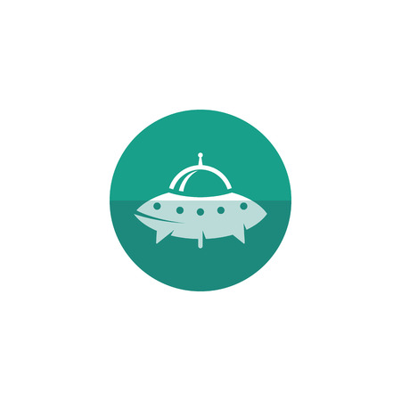 Flying saucer icon in flat color circle style. Alien, outer space, earth invasion