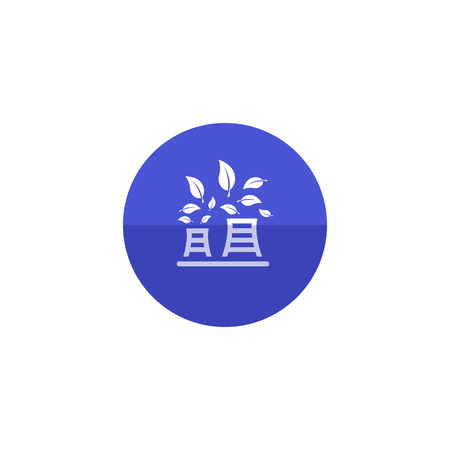 contamination: Nuclear plant with leaves icon in flat color circle style. Go green, environment friendly