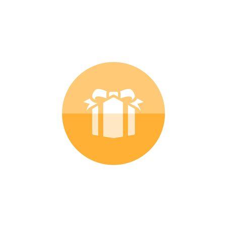bounty: icono de la caja de regalo en estilo círculo de color plano. Premio de cumpleaños fiesta de la Navidad
