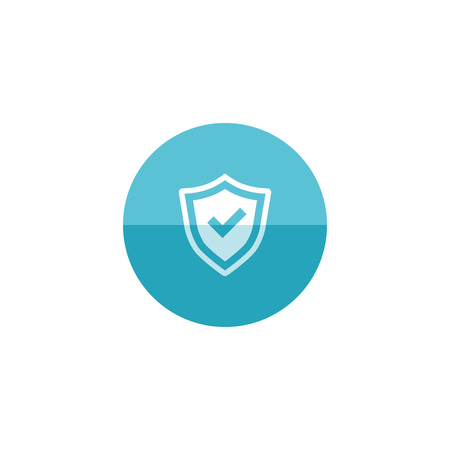 strong: Shield icon with checkmark in flat color circle style. Protection guard safety