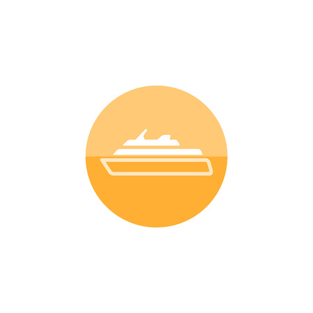 cruise ship icon: Cruise ship icon in flat color circle style. Holiday, travel, journey