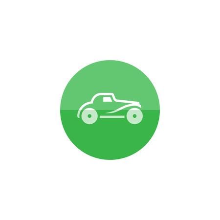 retro color: Vintage car icon in flat color circle style. Retro automotive toy