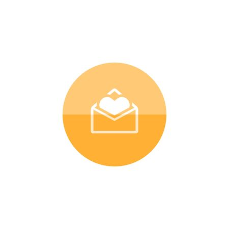 romance love: Envelope with heart icon in flat color circle style. Love romance receive surprise gift Illustration