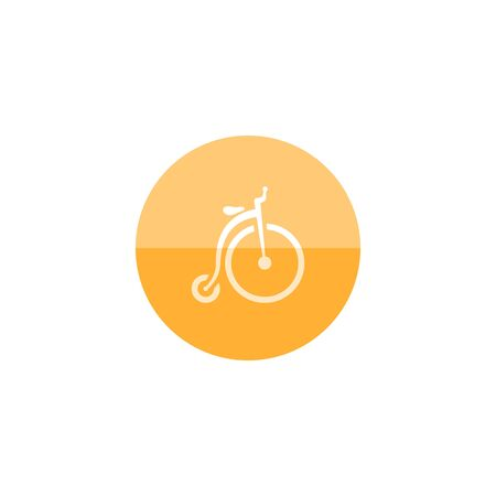 farting: icon in flat color circle style. Transportation sport vintage old retro bicycle