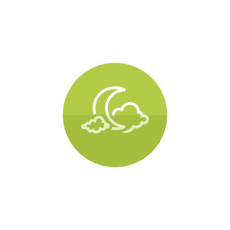 clouds: Weather overcast cloudy icon in flat color circle style. Nature forecast night cloudy cold
