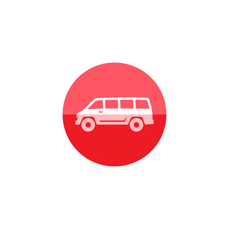 car speed: Car icon in flat color circle style. Van, delivery, bus Illustration