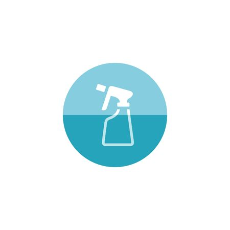 stench: Sprayer bottle icon in flat color circle style. Gardening laundry water liquid softener Illustration