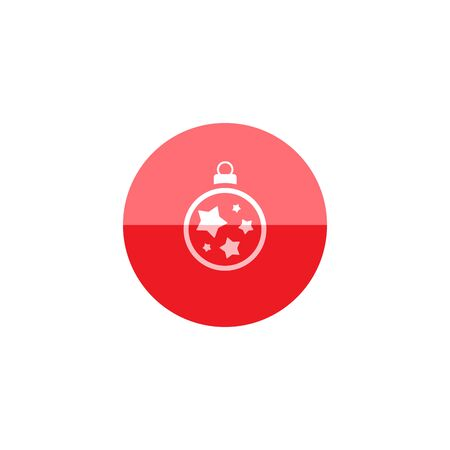 lamp light: Christmas orb icon in flat color circle style. Holiday December decoration part