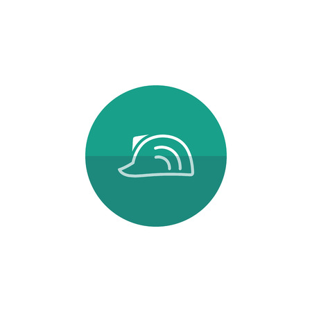 hard: Hard hat icon in flat color circle style. Construction gear head protection builder worker Illustration