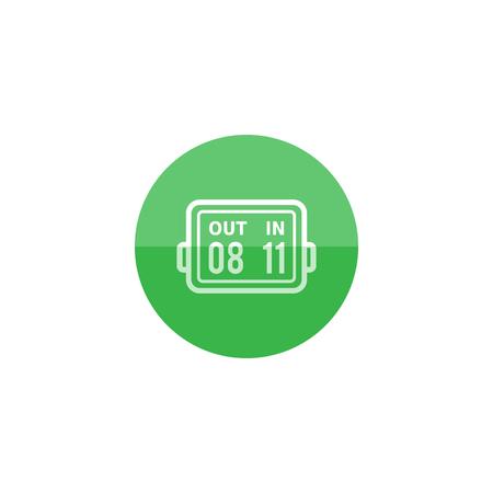 Icono del tablero de la substitución del jugador en estilo plano del círculo de color. Fútbol juego de fútbol juego torneo de partido Ilustración de vector