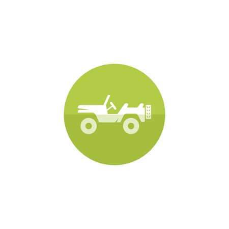 street symbols: Military vehicle icon in flat color circle style. Offroad 4x4 war country road
