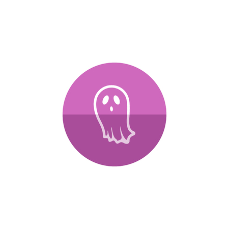 frighten: Halloween ghost icon in flat color circle style. Spooky fear frighten treat threat