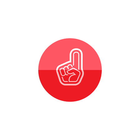 fanaticism: Foam glove icon in flat color circle style. Sport spectator supporter football basketball softball Illustration