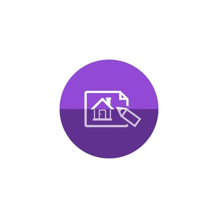 home icon: Blueprint icon in flat color circle style. Property house design mortgage Illustration