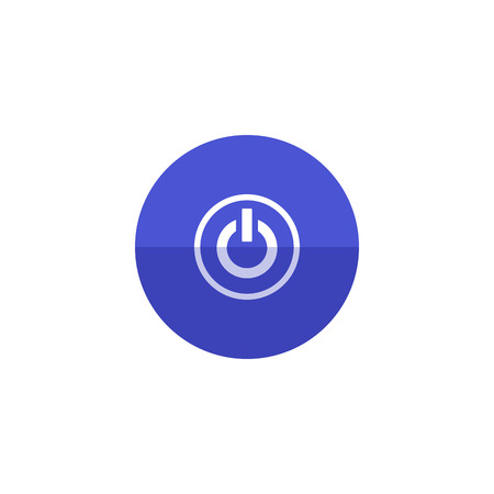 controlling: Power button icon in flat color circle style. Electronic electric switch start startup Illustration