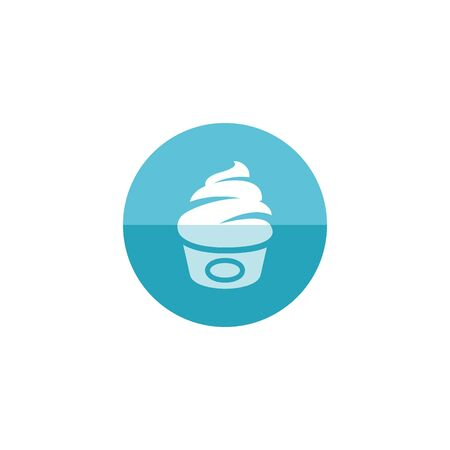 cream color: Ice cream icon in flat color circle style. Delicious sweet chocolate flavor Illustration