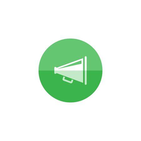 mobile website: Loudspeaker icon in flat color circle style. Loudspeaker scream movie director Illustration