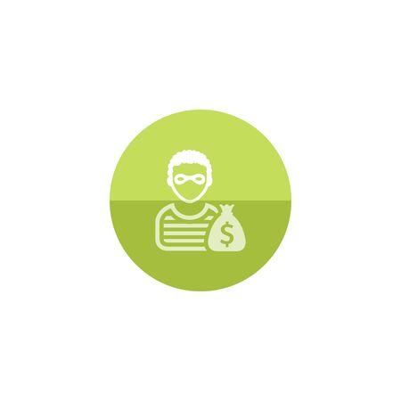 rob: Burglar icon in flat color circle style. People person thief steal money sack dollar sign
