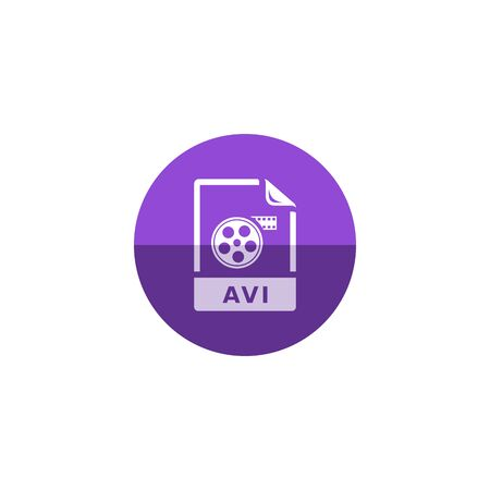 clouds: Video file format  icon in flat color circle style. Computer data movie streaming online download