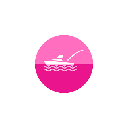 engine: Fishing boat icon in flat color circle style. Sport water sea lake river attracts recreation ship transportation transport