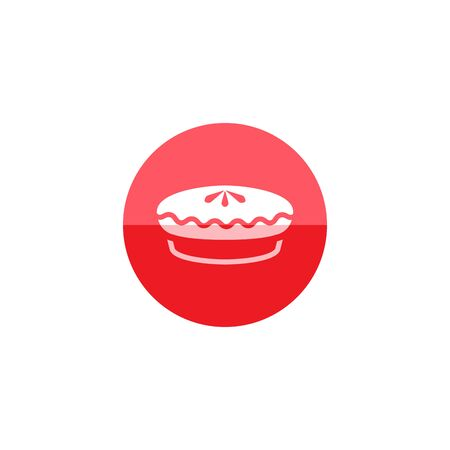 biscuits: Cake icon in flat color circle style. Food sweet delicious glazed chocolate dessert