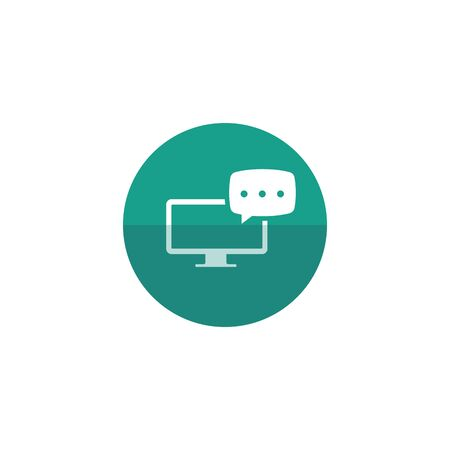 study: Webinar icon in flat color circle style. E-learning internet university college study distance connection