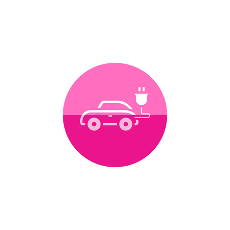 car speed: Car icon in flat color circle style. Mini small urban city vehicle electric hybrid