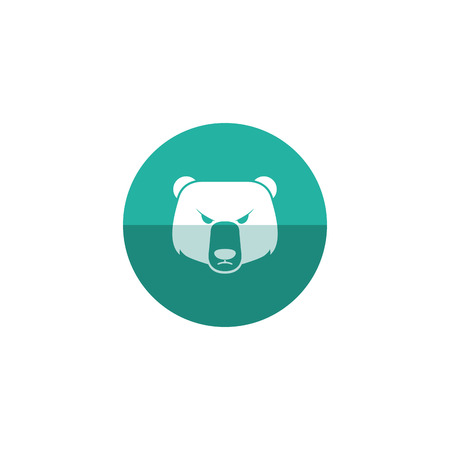 commerce: Bear icon in flat color circle style. Finance, speculation, trend