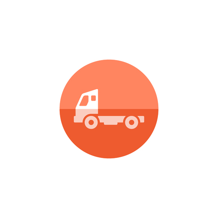 color distribution: Empty container lift truck icon in flat color circle style. Automobile car industry logistic distribution shipping Illustration