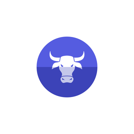 Bullish icon in flat color circle style. Finance, speculation, trend Illustration