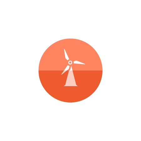 Wind turbine icon in flat color circle style. Power generation energy renewable Illustration
