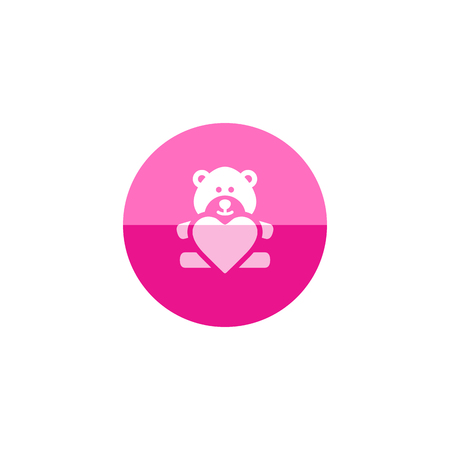 acquaintance: Teddy holding heart shape icon in flat color circle style. Valentine love couple present