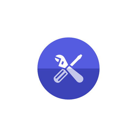 spare: Mechanic tools icon in flat color circle style. Wrench screw driver mechanic setting maintenance professional setting