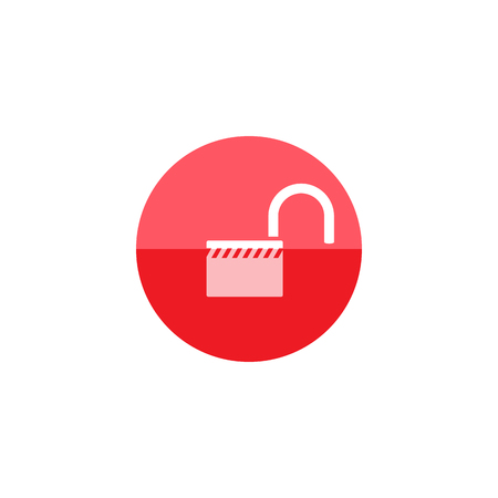 pad: Padlock unlocked icon in flat color circle style. Safety, protection