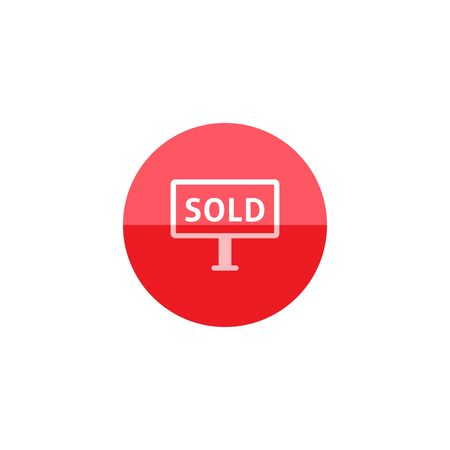 sold out: Sold out sign icon in flat color circle style. Property house home selling building mortgage