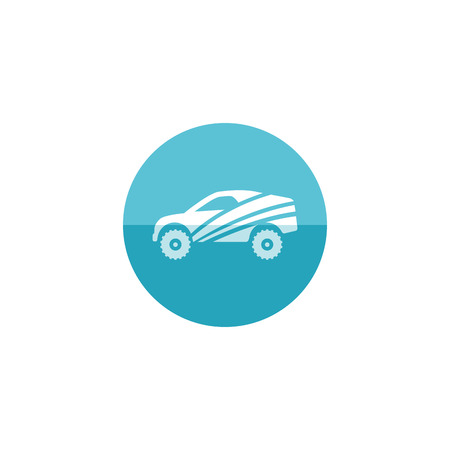 fast car: Rally car icon in flat color circle style. Race championship competition fast track road Illustration