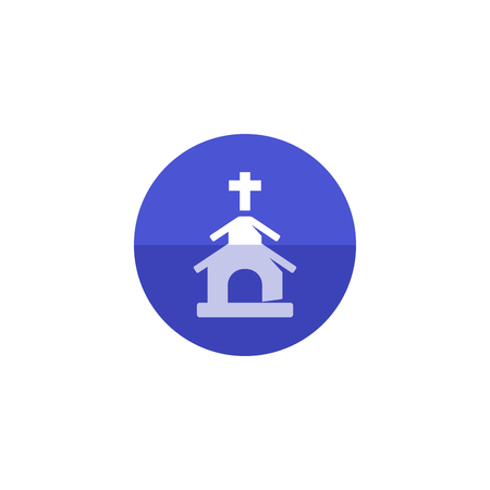 born again: Church icon in flat color circle style. Christian chapel synagogue