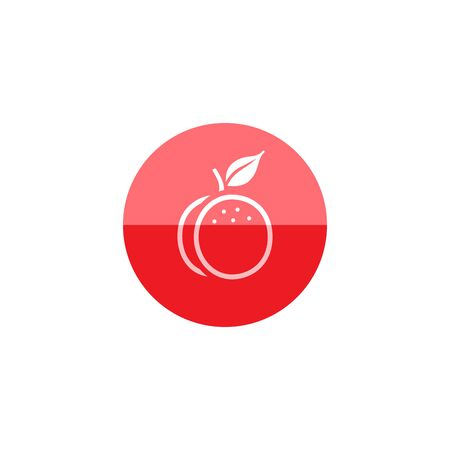 diet food: Peach icon in flat color circle style. Food fruit vitamin healthy diet Illustration