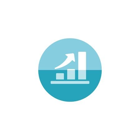 investment concept: Bar chart icon in flat color circle style. Finance report banking growth investment
