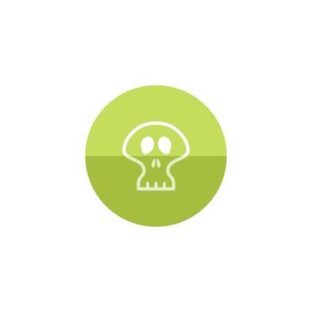 human anatomy: Skeleton icon in flat color circle style. Skull Halloween accessories decoration