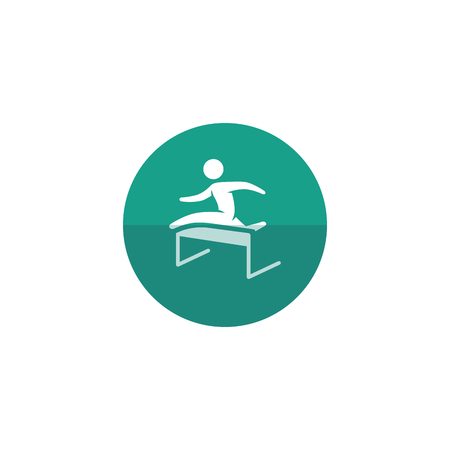 race winner: Hurdle run icon in flat color circle style. Sport competition running sprint challenge