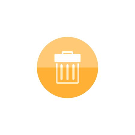design office: Trash bin icon in flat color circle style. Garbage can clean office bucket