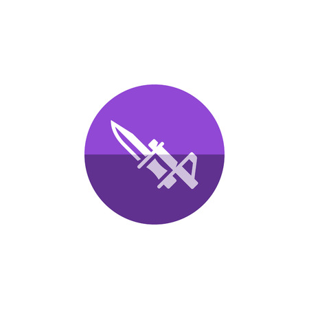 vintage riffle: Bayonet knife icon in flat color circle style. Weapon vintage riffle assault army war battle danger dagger Illustration