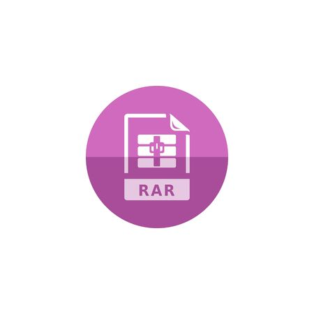 rar: Compressed file format icon in flat color circle style. Computer data software size reduce