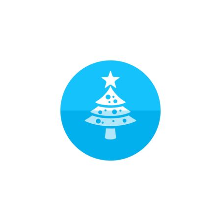 christmas celebration: Christmas tree icon in flat color circle style.