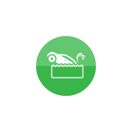 view: Drowned car icon in flat color circle style. Automotive natural accident flood insurance claim Illustration