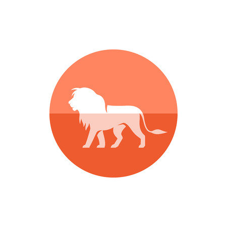 Lion icon in flat color circle style. mammal carnivore zoo Illustration